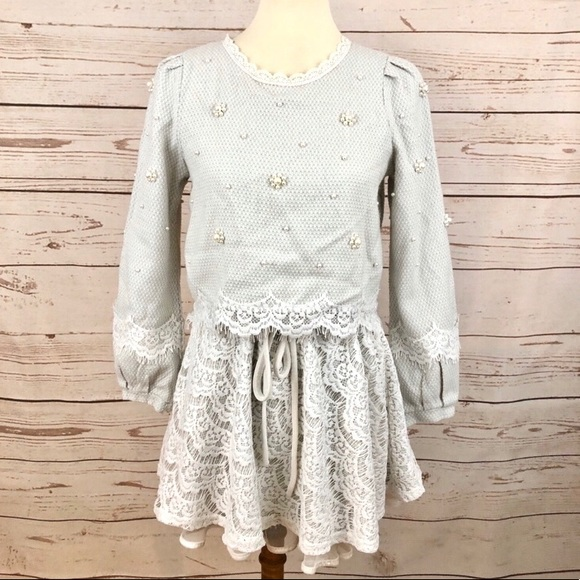 Vintage Dresses & Skirts - The P&K Pearl & Lace Flower Crop Top Tweed Dress